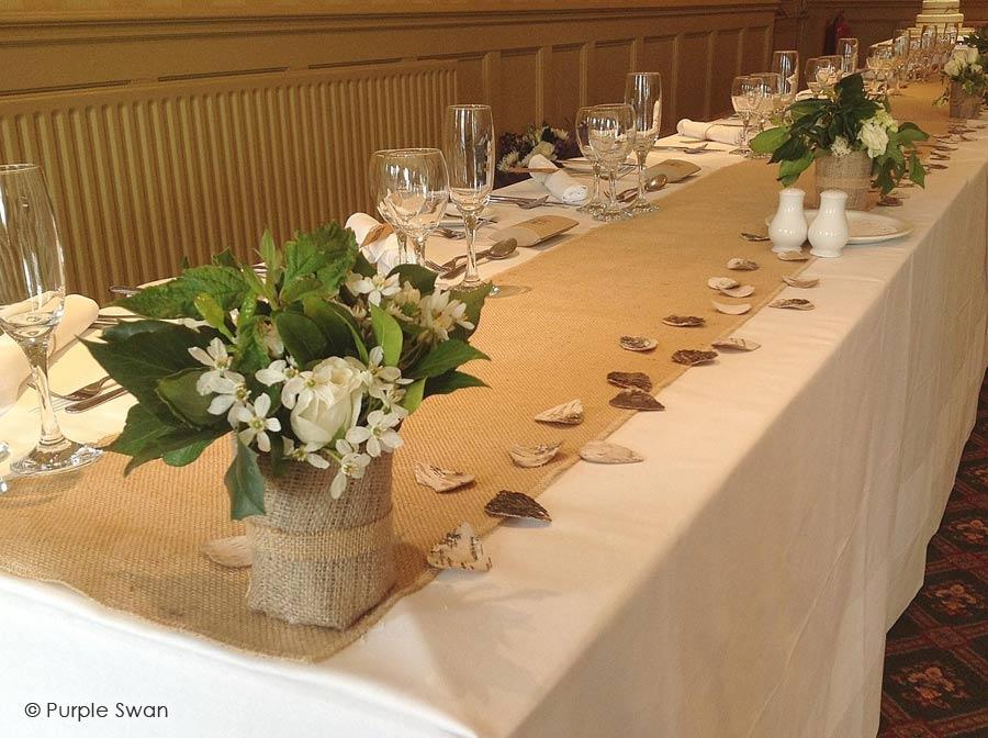 Elegant Purple Wedding At Black Swan Lake: Wedding Table Decoration