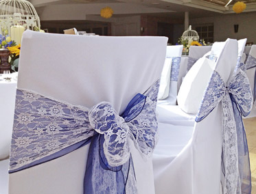 Chair Covers with Lace and Organza Sashes